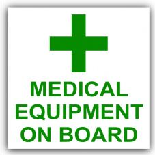 1 x Medical Equipment On Board-First Aid Design-Self Adhesive Vinyl Sticker-Car,Van,Bus,Taxi,Cab,Mini,Logo Sign